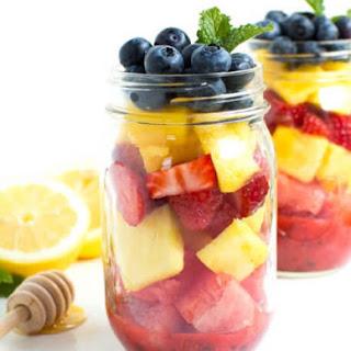 Mason Jar Fruit Salad with Strawberry Mint Dressing.