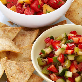 Cool Strawberry Salsa with Cinnamon Tortilla Chips.