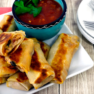 Creamy Chicken Chili and Cheesy Southwest Egg Rolls