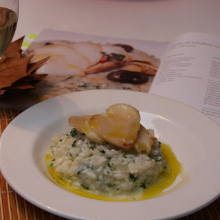 Cod Chips with Cilantro Risotto.