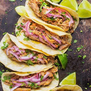 Gloria's Slow Cooker Pork Tacos with Pickled Onions.