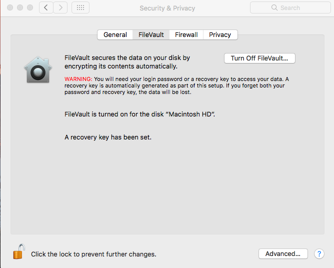 turn off FileVault