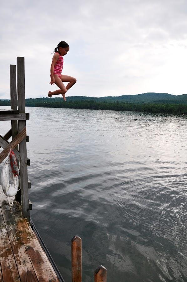 Big Leap by Jonathan White - Babies & Children Children Candids ( water, children, lake, squam lake, diving )