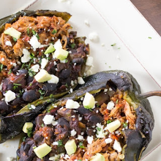 Tex-Mex Chipotle Pork and Black Bean Stuffed Poblano Peppers.