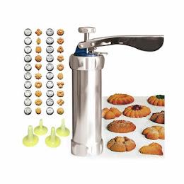 Aparat de inox pentru biscuiti si fursecuri, 10 forme si 4 accesorii de ornare