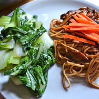Garlic Bok Choy And Udon With Fried Bean Paste.