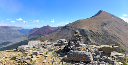 Photo: Behold, the summit cairn on Triple Divide Peak. Looking NE, that is Mt. James on right. I climbed James on this day also.
