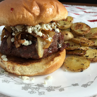 Pepper Jam Burger with Caramelized Onions and Gorgonzola