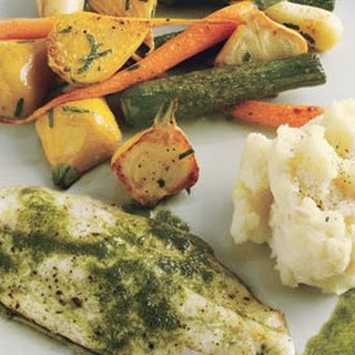 Branzino and Roasted Baby Vegetables with Tarragon-Chive Oil Recipe