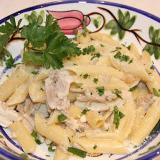 Penne Pasta with Chicken Alfredo.