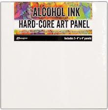 Tim Holtz Alcohol Ink Hard Core Art Panel 3/Pkg - 4X4