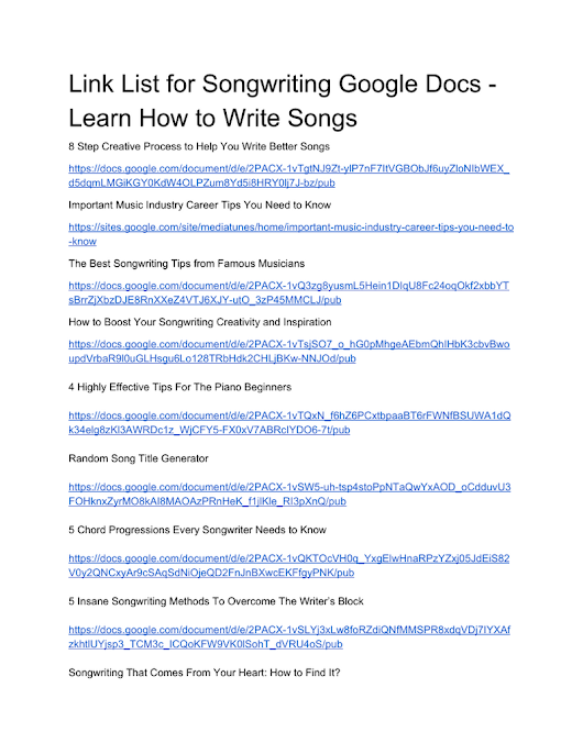 Songwriting Google Docs List