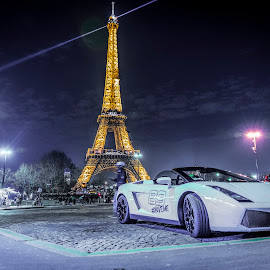 Lambo by Nistorescu Alexandru - Transportation Automobiles ( #lambo, #paris, #eiffel, #low, #night,  )