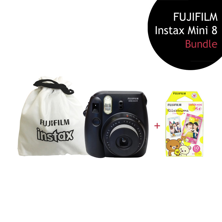 [Bundle] FUJIFILM Instax Mini 8 Camera (Black) + Rilakkuma Film Pack + Instax Pouch by My Pocket Net Sdn Bhd