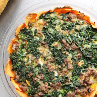 SAUSAGE & KALE QUICHE WITH SWEET POTATO CRUST.