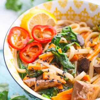 Udon Noodle Bowls with Mushroom, Sweet Potato & Spinach.