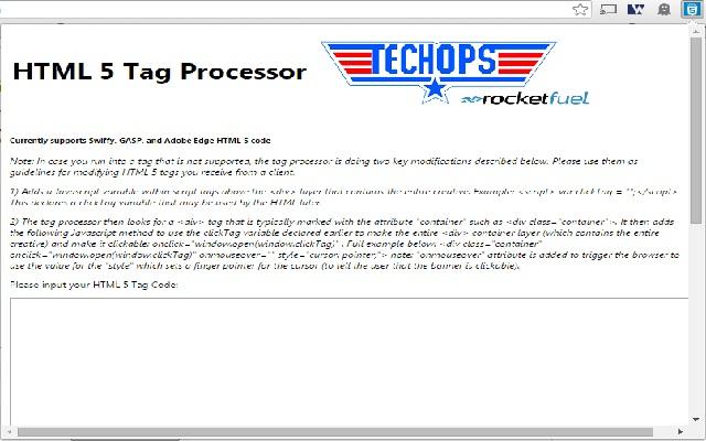 Rocket Fuel Tech Ops HTML 5 Processor