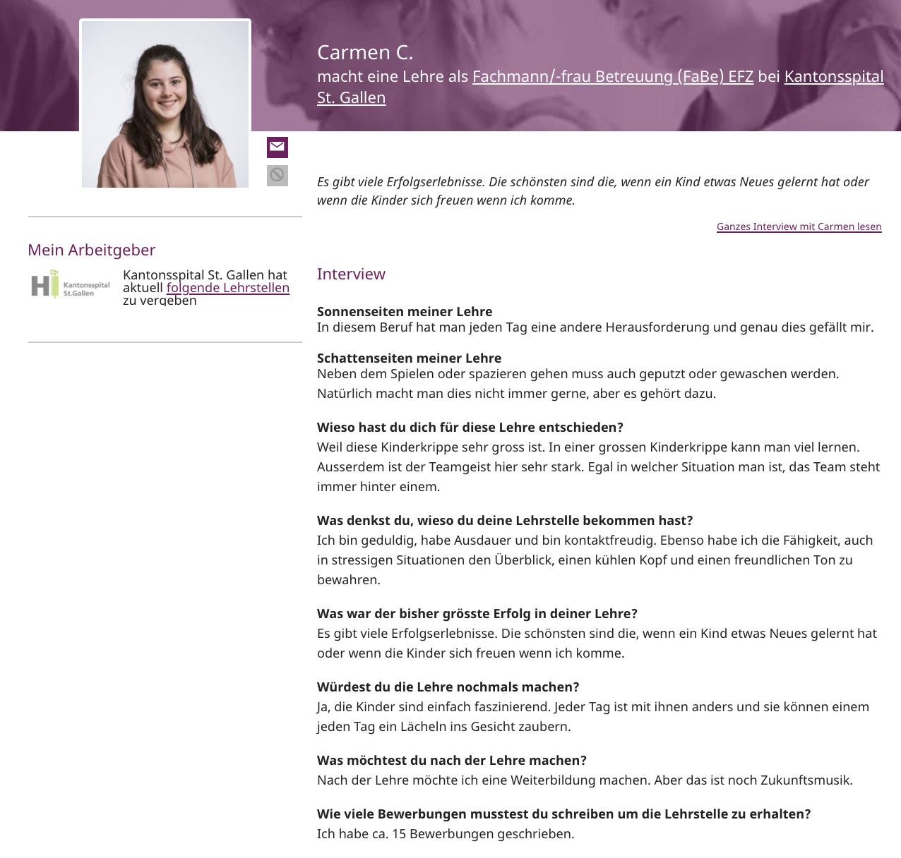 Interview von Lernenden