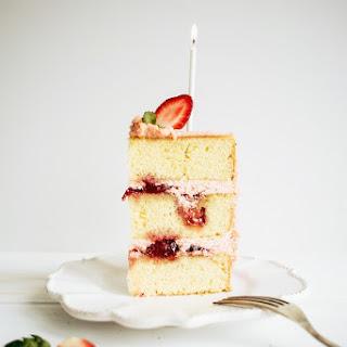 Strawberry Jam and Vanilla Birthday Cake.