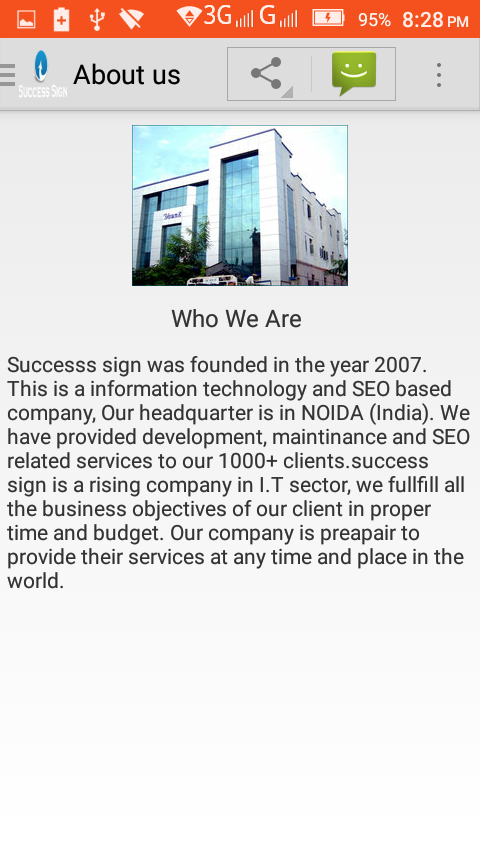 Success Sign: company profile- screenshot