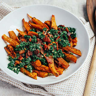 Roasted Sweet Potato Wedges with Chimichurri and Bacon