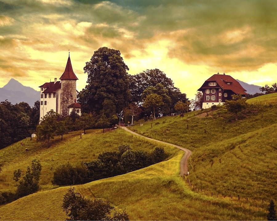 Switzerland Memory by Dee Haun - Landscapes Prairies, Meadows & Fields ( landscapes, stormy, buildings, hills, dramatic, farm, clouds, 150530$5472ce3, fields )