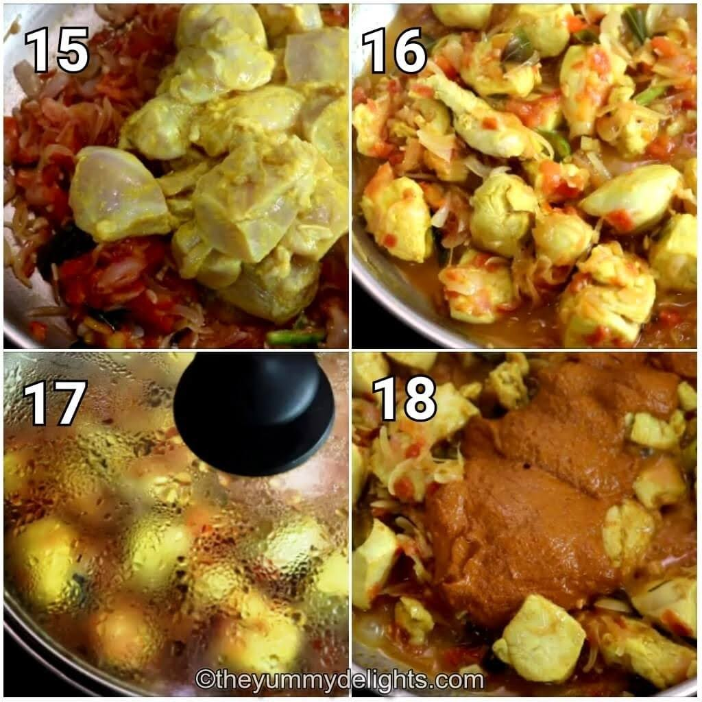 step by step image collage of addition of marinated chicken and cooking it to make chicken chettinad gravy recipe.