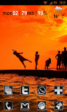 Photo: The big sunset leap #android #ics #homescreen. I'm using the OICS theme changer theme (free, Market) which gives an ICS-like look but with orange accents instead of blue. Wonderful.