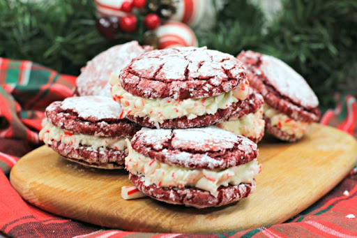 Candy Cane Sandwich Cookies