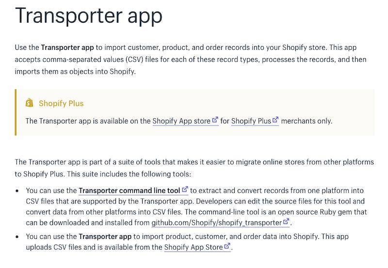 Shopify Transporter App