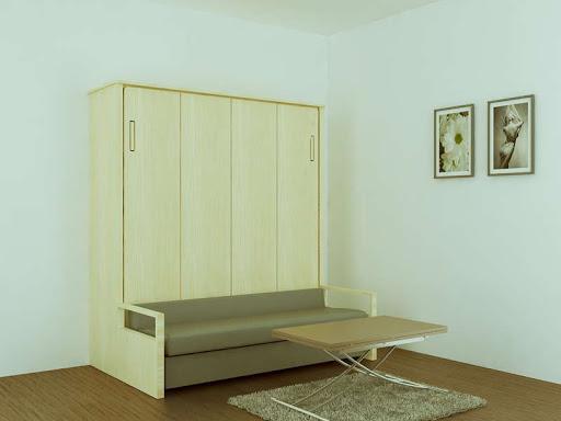 Giường gấp thông minh tận dụng chiều cao của căn phòng