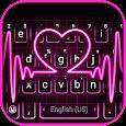 Pink Neon Heart Keyboard Theme