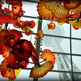 Chihuly Art and the Needle by Rebekah Abernathy - Artistic Objects Glass ( foggy, art, glass, color, chihuly, mist, nikon, space needle, pacific northwest, glass art, seattle, washington, colorful, architecture, fog,  )