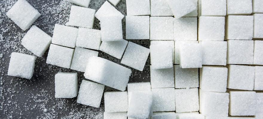 Kostki cukru białego na stole