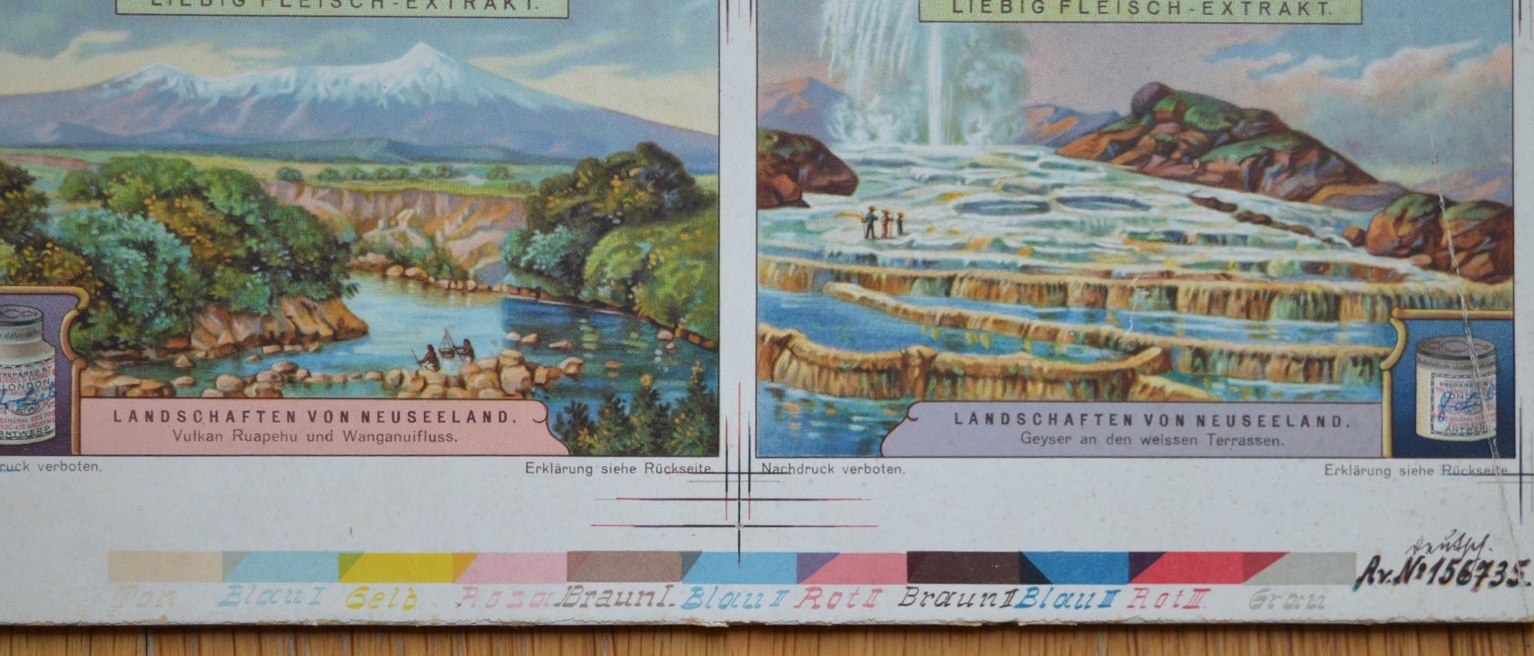 Lithographie - Druckseite Sammelbilder Liebig's Fleisch-Extrakt - 1928 - Farbtabelle