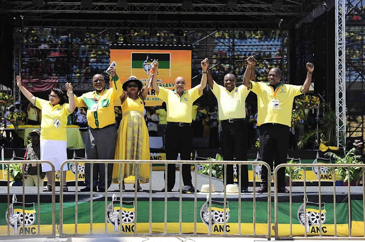 The ANC's top six greet supporters. Picture: SOWETAN