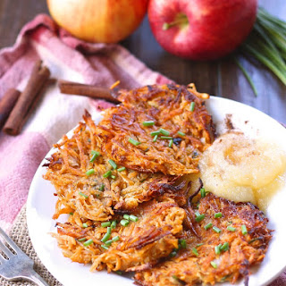 Sweet Potato Latkes with Spiked Apple Sauce