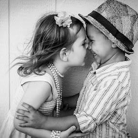 Eskimo Kisses by Vanessa Meyers - Black & White Portraits & People ( black and white, children, candid, portrait, kisses,  )