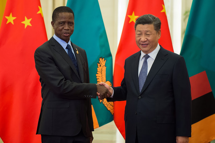 Zambia's President Edgar Lungu shakes hands with China's President Xi Jinping before their bilateral meeting at the Great Hall of the People in Beijing, China September 1, 2018.