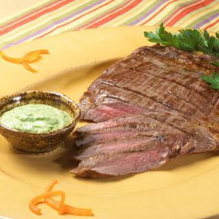 Steak With Creamy Chimichurri Sauce.
