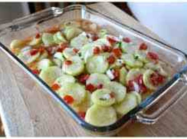 combine cucumbers onions and tomatoes in a large bowl or pan, preferably glass. Pour...