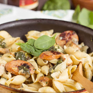 Creamy Spinach Artichoke Sausage and Chicken Pasta.