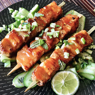 Hot And Sweet Chilli Pork With Cucumber.