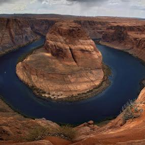 Horseshoe Bend by Jud Joyce - Landscapes Deserts ( colorado river, desert, arizona, storm, river )