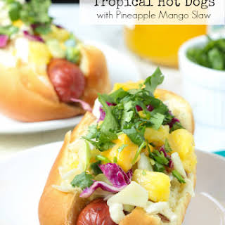 Tropical Hot Dogs with Pineapple Mango Slaw.