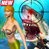 Angry Shark Hunting Rescue Mermaid Sea Adventure