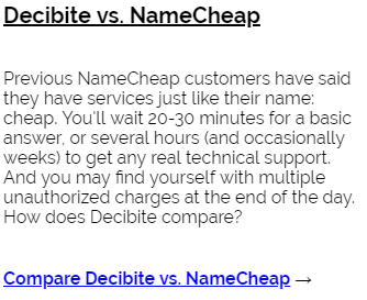 Decibite vs NameCheap