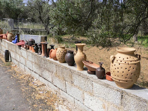 Photo: An array of masterpieces outside the pottery house