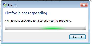 Firefox Not Responding Error