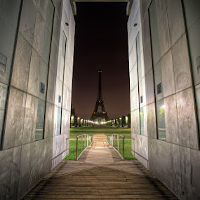 Darkness and Peace by Conor MacNeill - Landscapes Travel ( abstract, europe, hdr, park, grass, peace wall, eiffel tower, landmark, paris, tower, walls, peace, dark, monument, night, france, darkness, wall )